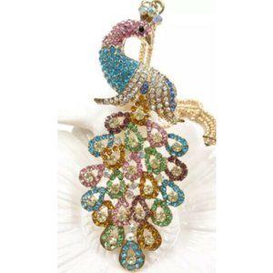 Multi-Color Rhinestone Peacock Necklace